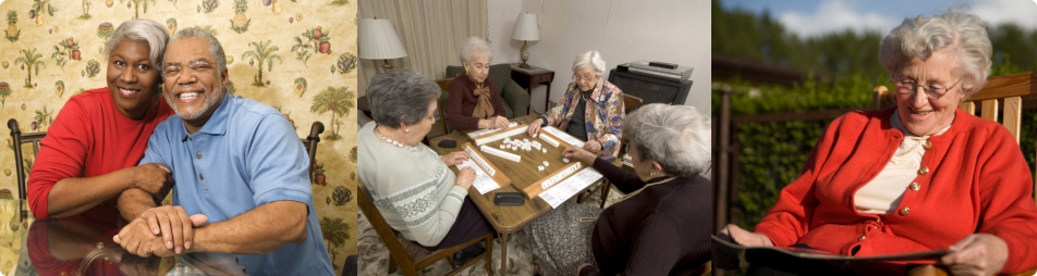 Senior Couple, Group of senior playing mahjong, Female senior smiling